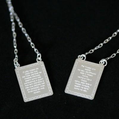 Escapulário de Prata 925 Oração Pai Nosso 60cm 8014f9b18e